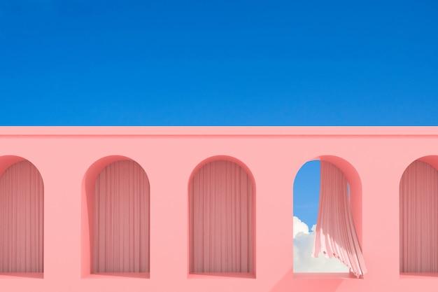 Minimales abstraktes gebäude mit bogenfenster und fließvorhang auf hintergrund des blauen himmels, architektonisches design mit schatten und schatten auf rosa textur. 3d-rendering.