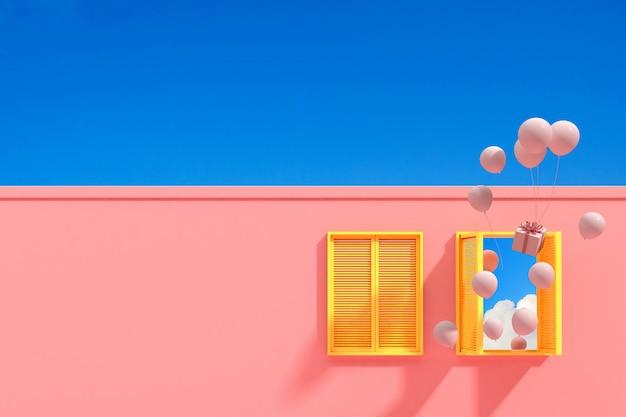 Minimales abstraktes gebäude mit gelbem fenster und schwebenden luftballons auf blauem himmelhintergrund, architekturentwurf mit schatten und schatten auf rosa textur. 3d-rendering.