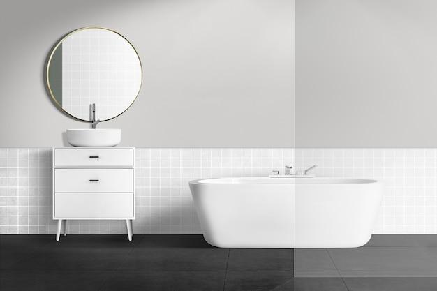 Minimales authentisches innendesign des badezimmers