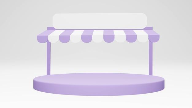 Minimales convenience-store-frontgebäude mit einem podium, das auf dem hintergrund für kommerzielles design isoliert ist