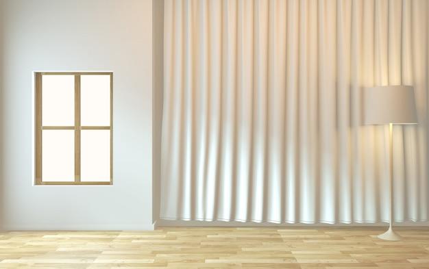 Minimales design des leeren raumzens wiedergabe 3d
