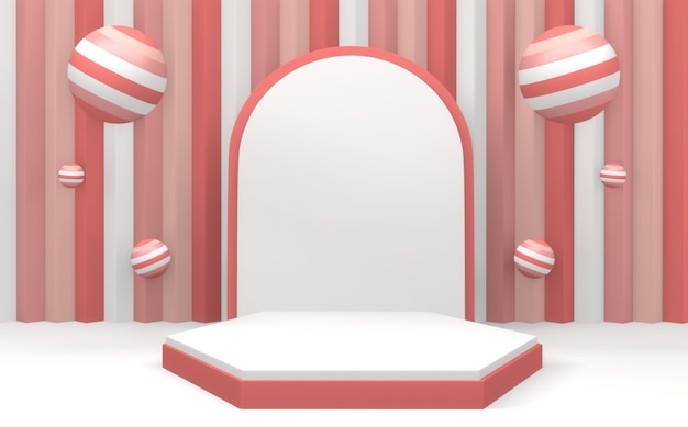 Minimales design des modernen rosa podiumsanzeigen auf rosa und rotem hintergrund. 3d-rendering