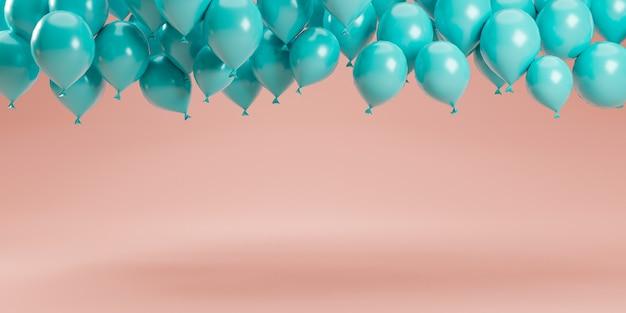 Minimales design durch 3d-rendering von pastellblauen ballons, die auf rosafarbenem pastellhintergrund im studio für dekorationswerbung schweben und produkt zeigen.