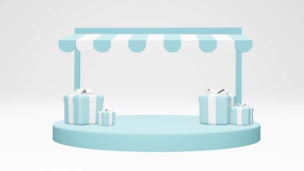 Minimales frontgebäude des convenience-stores mit podium und geschenk im hintergrund für kommerzielles design