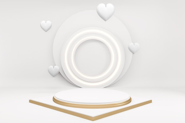 Minimales goldpodest mit goldenem rand für produkt auf weißem hintergrund. 3d-rendering