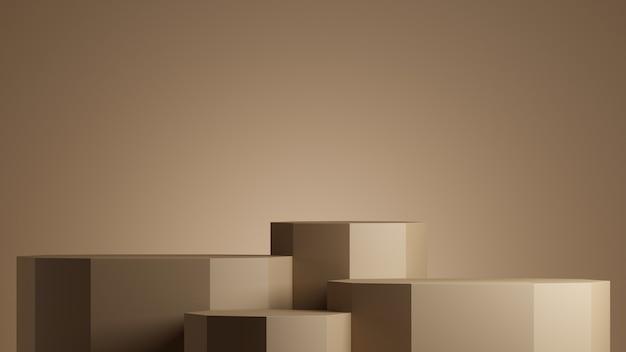 Minimales hintergrundpodium mit braunem hintergrund für die darstellung der produktpräsentation 3d-rendering