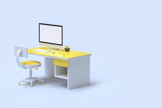 Minimales ideenkonzept, computermodell auf gelber farbe des arbeitsschreibtischs