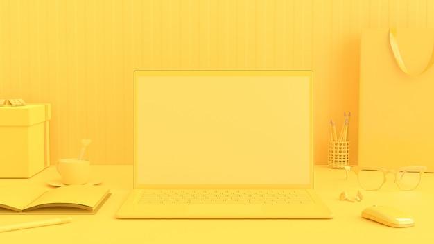 Minimales ideenkonzept, laptop auf arbeitsschreibtisch