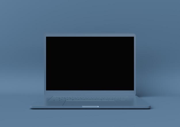 Minimales ideenkonzept, laptopmodell mit leerer anzeige auf blauem hintergrund. 3d render.