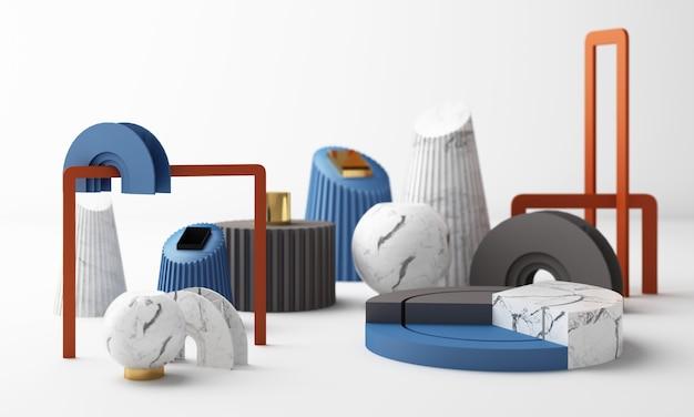Minimales konzept der abstrakten geometrischen form bunt mit marmorbeschaffenheit, 3d-darstellung