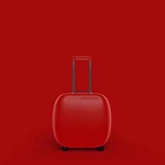 Minimales konzept des reisekoffers rote farbe
