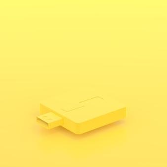 Minimales konzept, gelbe pastellfarbe des usb-blitzantriebs und kopienraum für ihren text, 3d zerreißen
