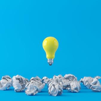 Minimales konzept. hervorragende gelbe glühlampe, die auf weißes zerknittertes papier auf blauem hintergrund schwimmt. 3d-rendering.
