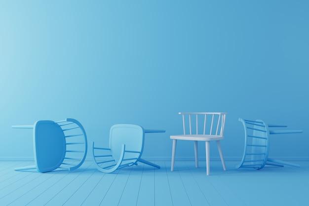 Minimales konzept. hervorragender weißer stuhl mit fallendem blauem stuhl auf blauem boden und hintergrund.
