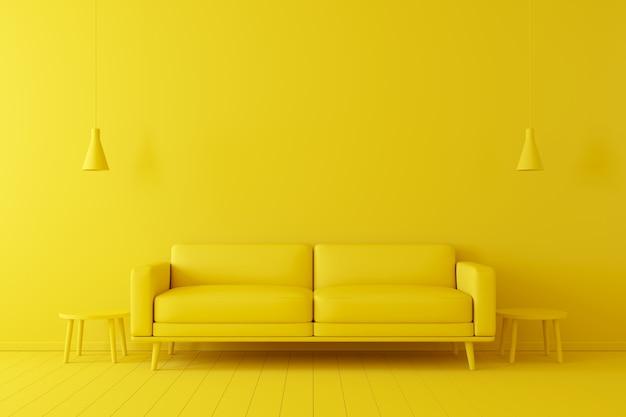 Minimales konzept. innenraum des lebenden gelben tones auf gelbem boden und hintergrund.
