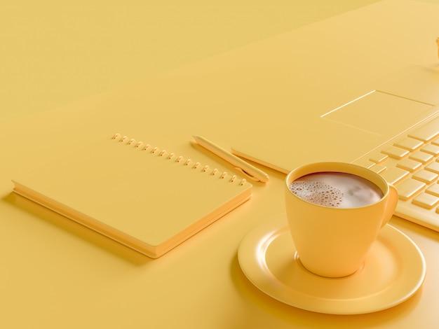 Minimales konzept. kaffeemilch in der gelben schale auf arbeitsschreibtisch mit laptop und notizbuch. gelb
