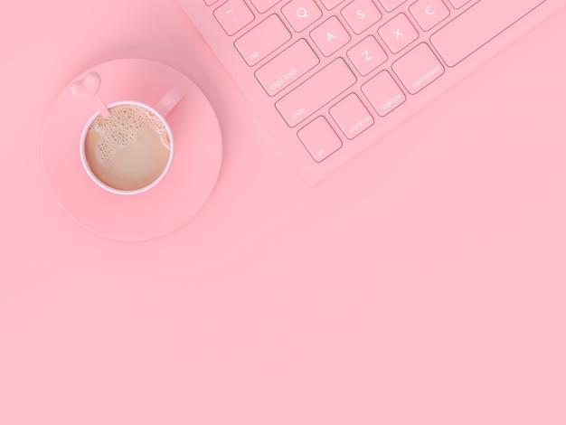 Minimales konzept. kaffeemilch in der rosa schale neben tastatur auf arbeitsschreibtisch