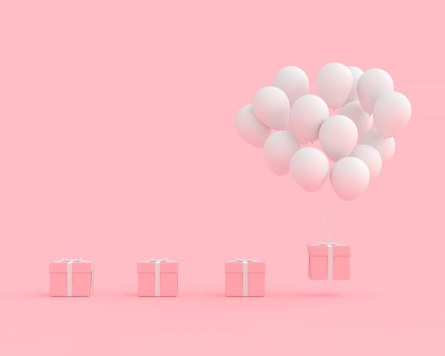 Minimales konzept rosa geschenkbox mit weißer farbe des ballons