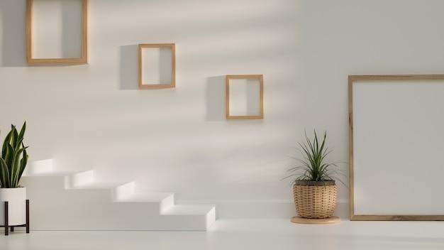 Minimales kopierraumdesign mit bilderrahmen pflanzt weiße wand und weiße treppe 3d-darstellung