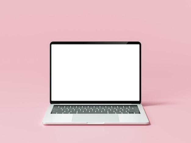 Minimales laptop-modell auf rosa hintergrund