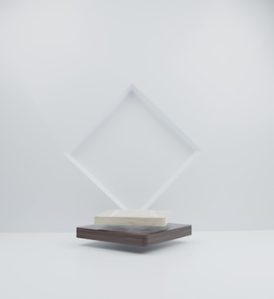Minimales mockup-marmor- und holzpodest auf rechteckigem hintergrund