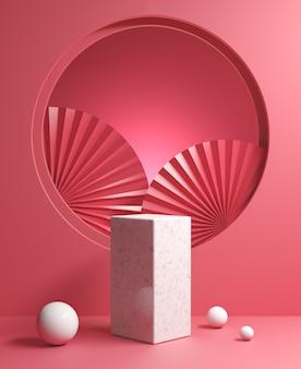 Minimales modellpodest des 3d-renderings mit papierfächer-chinesisch auf abstraktem hintergrund des roten samtkonzepts