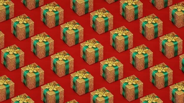 Minimales muster mit goldenen weihnachtsgeschenkboxen auf rot