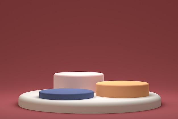 Minimales podest- oder sockeldisplay auf rotem hintergrund für die präsentation von kosmetikprodukten