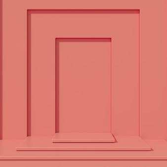 Minimales podium der roten farbe des konzeptes und rote farbplattform für produkt. 3d-rendering.