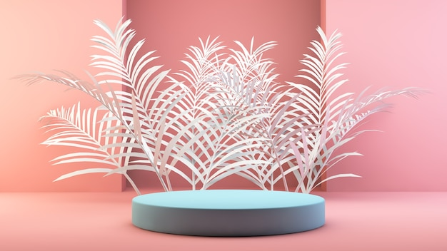 Minimales podium mit palmblättern