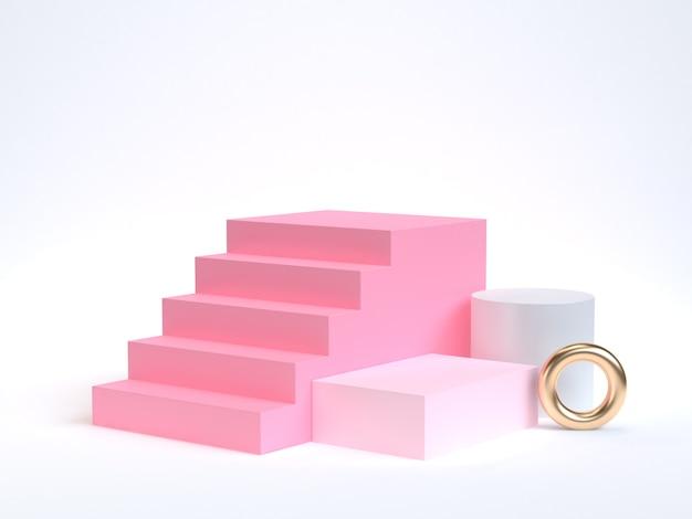 Minimales rosa treppenhaus, wiedergabe des treppenhauses 3d und geometrische form