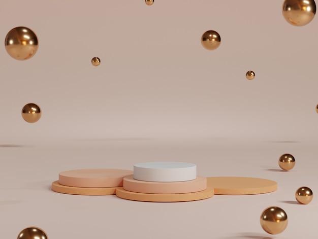 Minimales rundes, pastellfarbenes leeres podium mit rosafarbenem hintergrund und metallischen kugeln für die produktpräsentation, 3d-rendering technisches konzept.