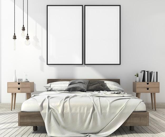 Minimales schlafzimmer der weinlese der wiedergabe 3d in der skandinavischen art