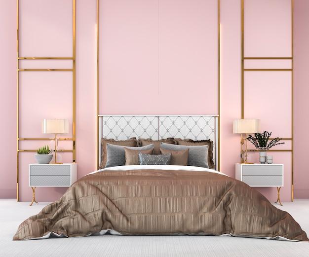 Minimales schlafzimmer des weinleserosas der wiedergabe 3d in der skandinavischen art
