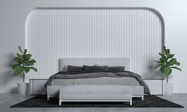 Minimales schlafzimmer-innenmodell, graues bett auf leerem weißem musterwandhintergrund, skandinavischer stil, 3d rendern