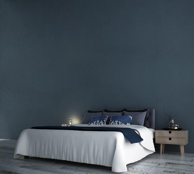 Minimales schlafzimmer inteiror design und blaue wand