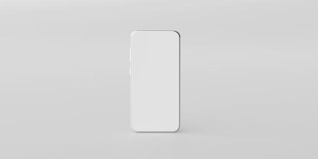 Minimales smartphone-modell mit leerem bildschirm auf weiß
