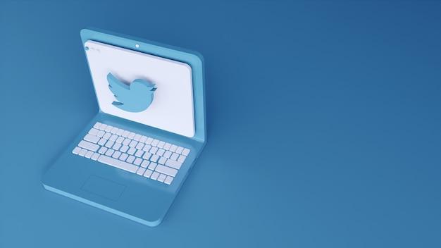 Minimales twitter-logo-anwendungsschablonendesign einfach auf laptop in 3d-form. 3d rendern