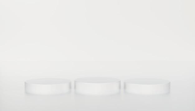 Minimales weißes zylinderplattformpodium im weißen lokalisierten hintergrund. wiedergabe der abbildung 3d. szene bühnenmodell schaufenster für produkt, verkauf, banner, rabatt, präsentation, kosmetik, angebot.