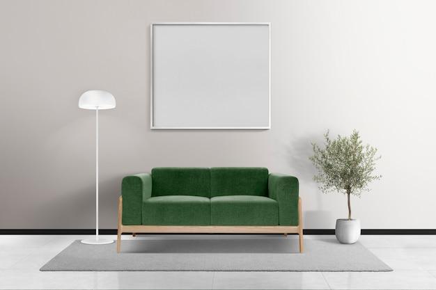 Minimales wohnzimmer-innendesign mit leerem rahmen
