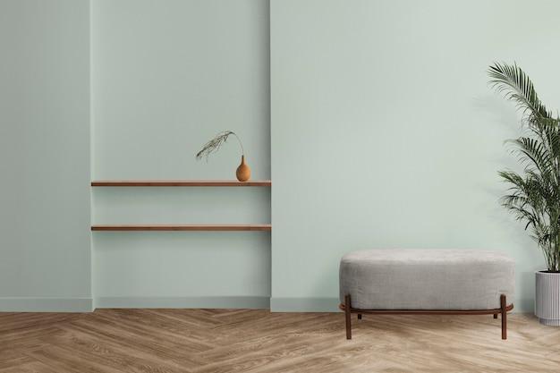 Minimales wohnzimmer-innendesign mit mintgrüner wand