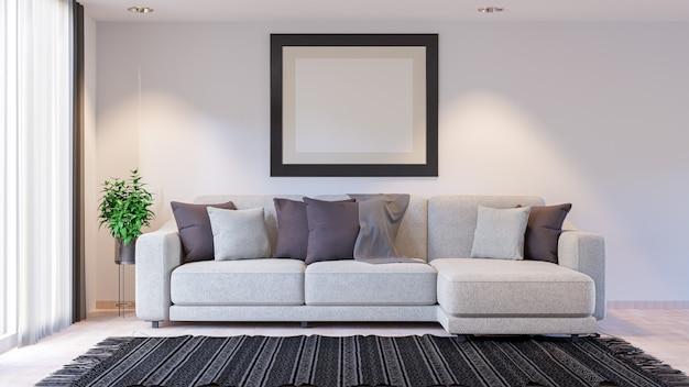Minimales wohnzimmer mit sofa. 3d rendern innenraum.