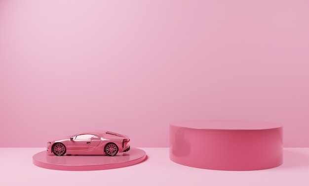 Minimalform rosa farbe podium mit rosa supersportwagen.