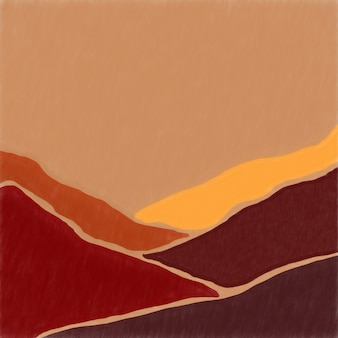 Minimalismus landschaft im stil der mid century berge und hügel in pastellfarben