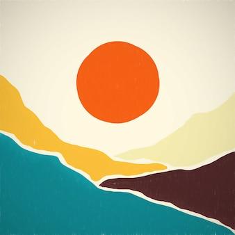 Minimalismuslandschaft im stil der berge aus der mitte des jahrhunderts und sonnenuntergang oder -aufgang in pastellfarben