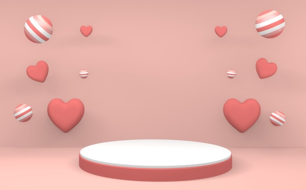Minimalist valentine pink podium minimal design produktszene. 3d-rendering