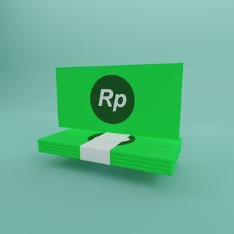 Minimalistische ein pack geld rupiah grünbuch heller hintergrund 3d-rendering
