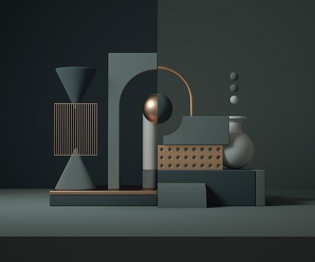 Minimalistische geometrische komposition. bauhaus 3d rendern design.