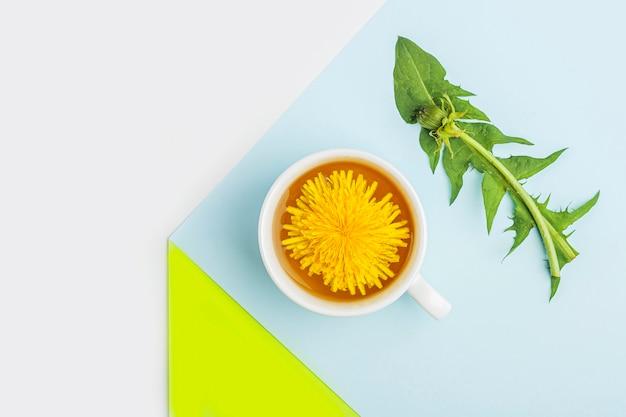 Minimalistische geometrische zusammensetzung mit tasse löwenzahntee mit frischen blättern und blumen auf blauem und grünem hintergrund. frisches frühlings-bio-kräutergetränk, grünes getränk.