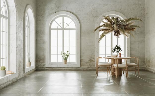Minimalistische innenarchitektur des leeren wohnzimmers mit grungy wänden und bogenfenstern 3d-rendering